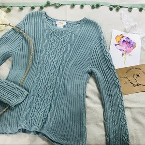 Vintage 90's Talbots cable knit light blue sweater